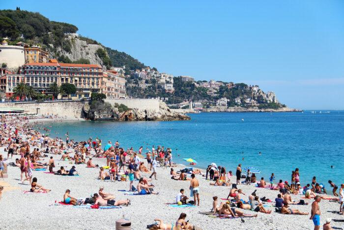 Castle beach and cityscape of Nice, France photo via Depositphotos