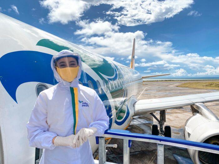 Cebu Pacific Airline crew in full PPE