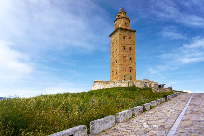La Coruna Hercules tower in Galicia Spain via Depositphotos.com