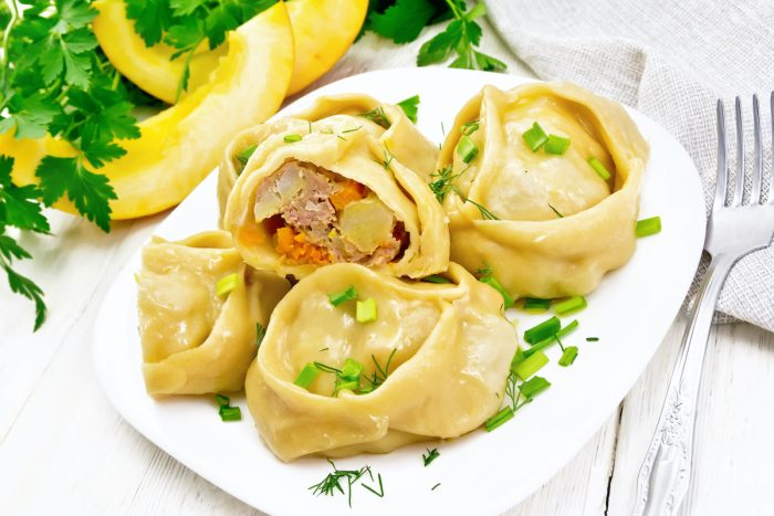 Manti Steamed Turkish Dumplings photo via Depositphotos