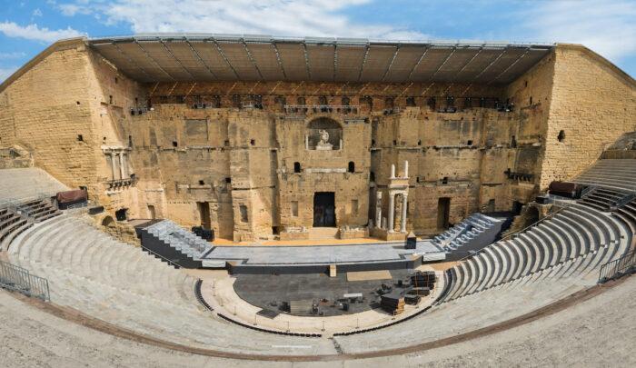 Ancient Roman theater in Orange, southern France photo via Deposit Photos