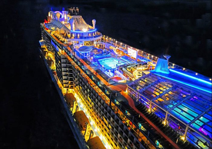 Royal Caribbean mega-cruise ship Quantum of the Seas, at night in the East China Sea, viewed from the North Star capsule.