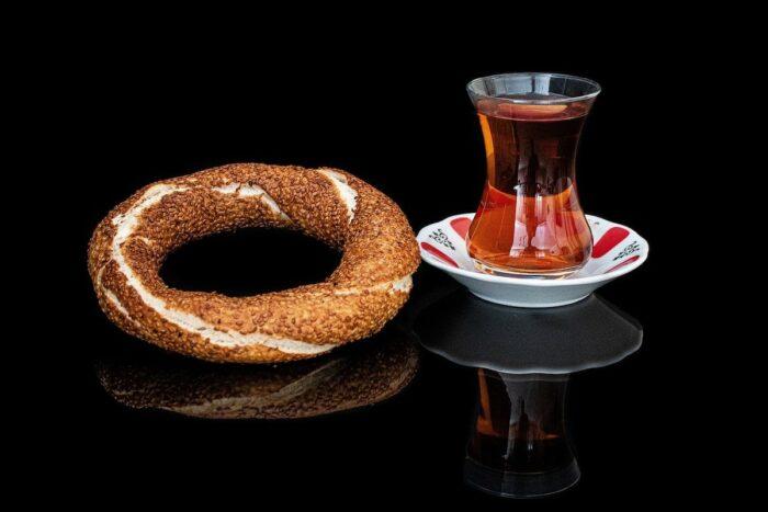 Simit paired with Turkish Tea