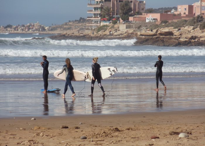 Surf lessons for beginners in Taghazout, Morocco via Depositphotos