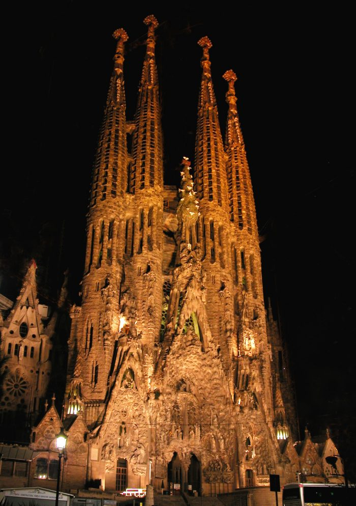The main facade of the Nativity scene at night.