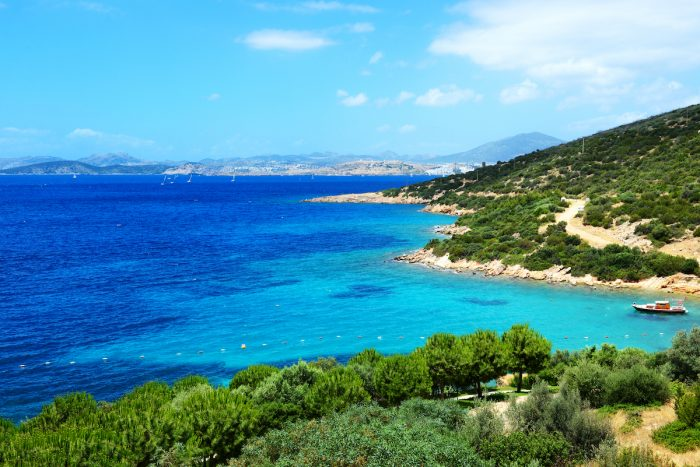 Turquoise water near beach on Turkish resort, Bodrum, Turkey photo via Depositphotos