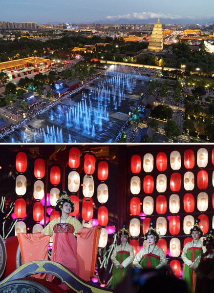 Scenic Area of the Xi'an Dayan Pagoda & Actresses performing in the pedestrian street of the Grand Tang Mall in Xi'an