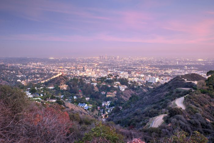 Aerial view of Los Angeles from Runyon Canyon Park photo via Depositphotos