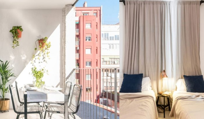 Colorful Apartment for rent in Barcelona with Private Balcony