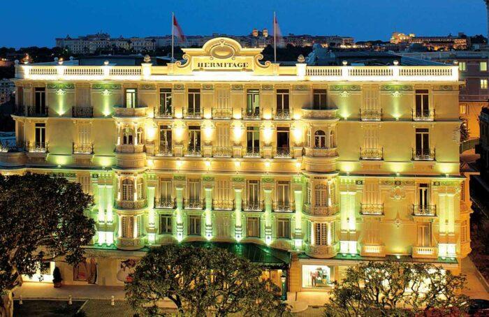 Facade of Hotel Hermitage in Monaco by Roderick Eime via Wikipedia CC.jpg
