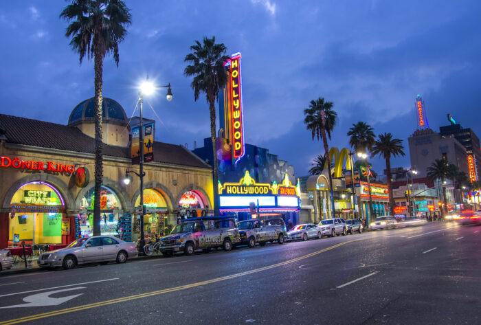 Hollywood at Night photo via Depositphotos