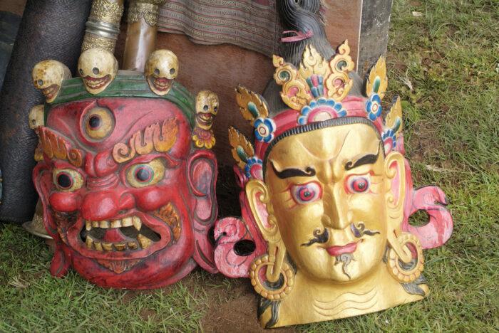 Masks Souvenirs from Bhutan photo via Depositphotos