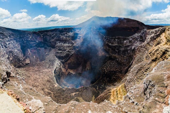 Molten lava sloshes around inside the Masaya Volcano photo via Depositphotos