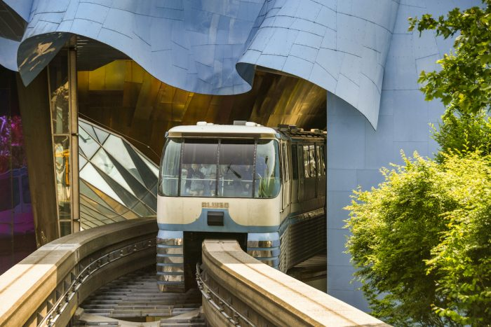 Monorail train arriving at the station at the Seattle center photo via DepositPhotos