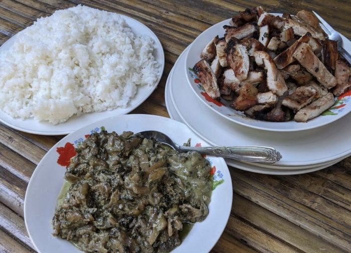 Pinangat and grilled pork