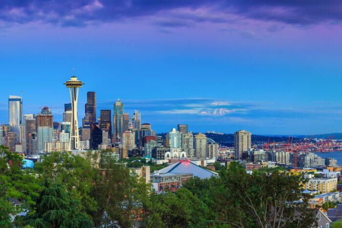 Seattle skyline at twilight from Kerry Park photo via DepositPhotos
