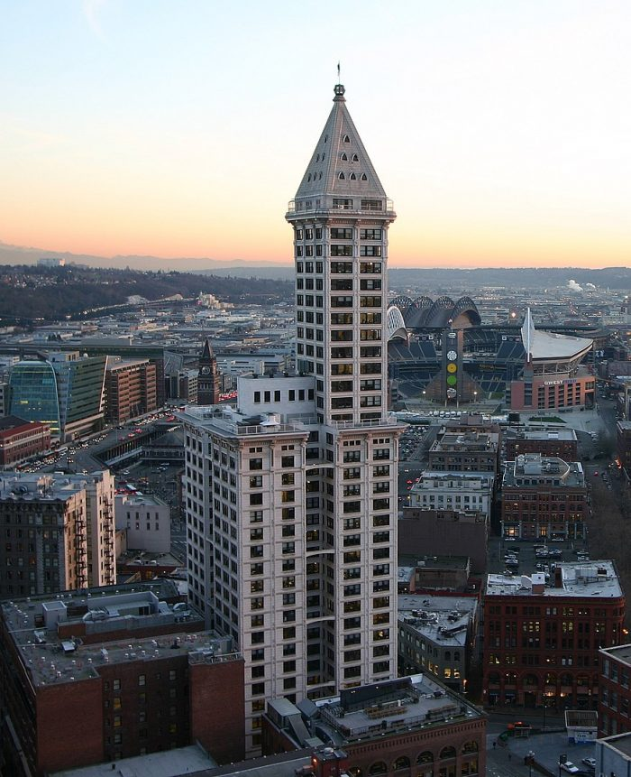 Smith Tower as seen from the Pacific Building by Christopher S. Maloney via Wikipedia CC