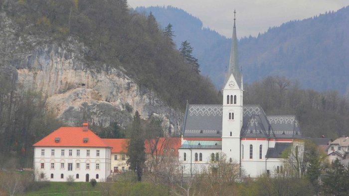 St. Martin's Parish Church in Bled photo by Benreis Wikipedia CC