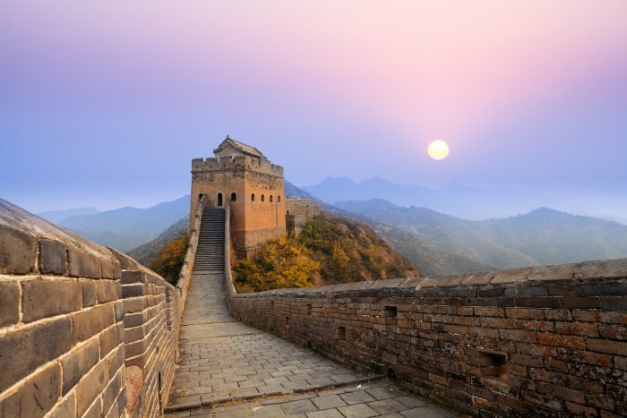 Sunrise at Great Wall of China photo via Depositphotos