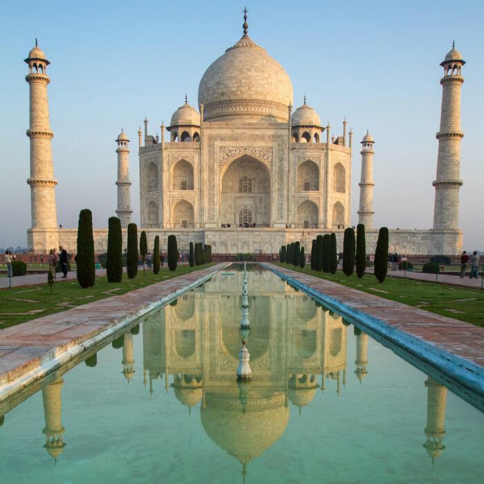 Taj Mahal Mausoleum in India photo via DepositPhotos