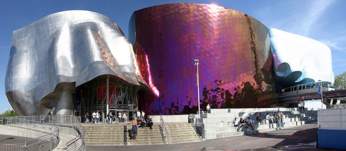 The Museum of Pop Culture (formerly Experience Music Project) at the Seattle Center by Cacophony via Wikipedia CC