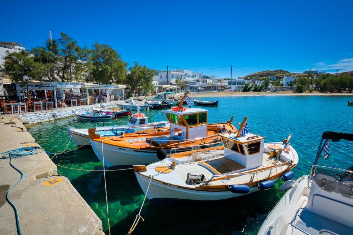 The beach and fishing village of Pollonia in Milos, Greece image via Depositphotos