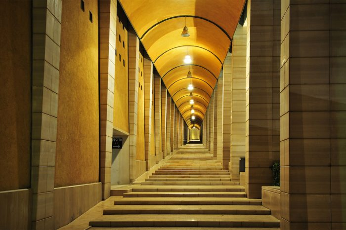 This long corridor leads to the liturgical hall.