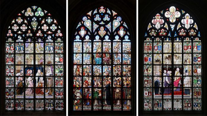 Three stained-glass windows in the Cathedral of Our Lady, Antwerp by Alvesgspar via Wikipedia CC