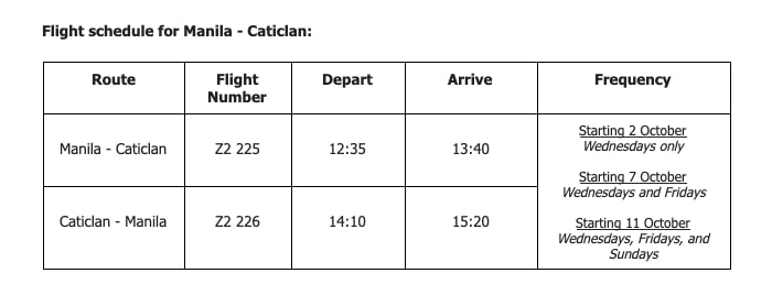 AirAsia Flight Schedule for Manila to Caticlan Starting October 2020