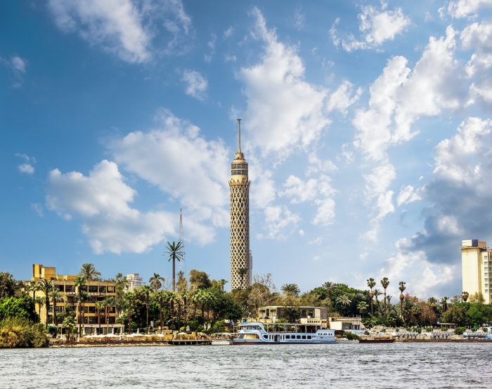 Cairo Tower, Cairo on the Nile in Egypt photo via Depositphotos