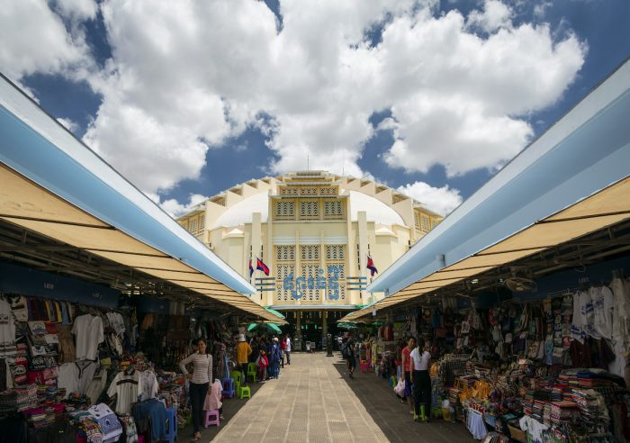 Central market landmark Art Deco exterior in Phnom Penh Cambodia via Depositphotos