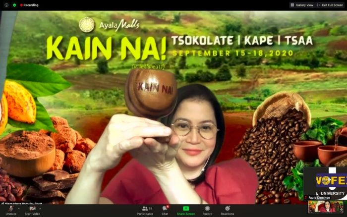 Tourism Secretary Bernadette Romulo-Puyat leads the virtual ceremonial toast of KAIN NA! Food and Travel Festival 2020 ?