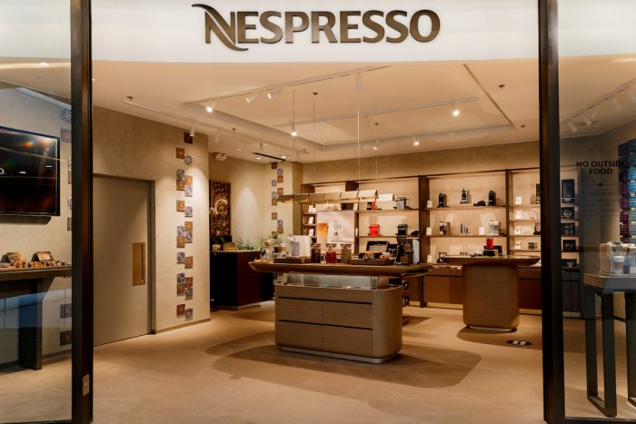 Nespresso brings sustainability to the forefront through the finishes of its new boutique store at The Podium occupying a 58sqm space featuring the work of Universal Design Studio, an award-winning architecture and interior design firm founded by Edward Barber and Jay Osgerby