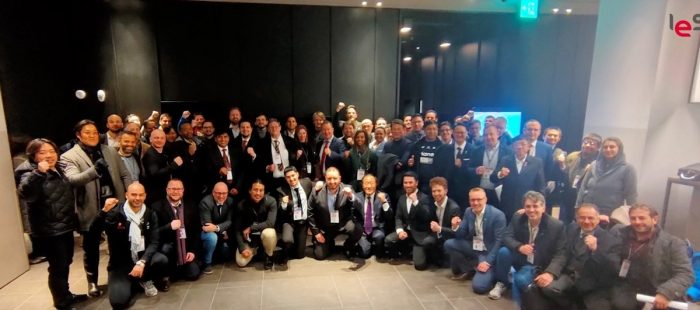 PeSO President Mr. Brian Lim (standing, center, light blue jacket) with other member countries of the IESF in the 2019 IESF General Meeting