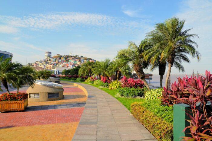 Seaside Malecon 2000 walkway with Santa Ana Hill, Ecuador via Depositphotos