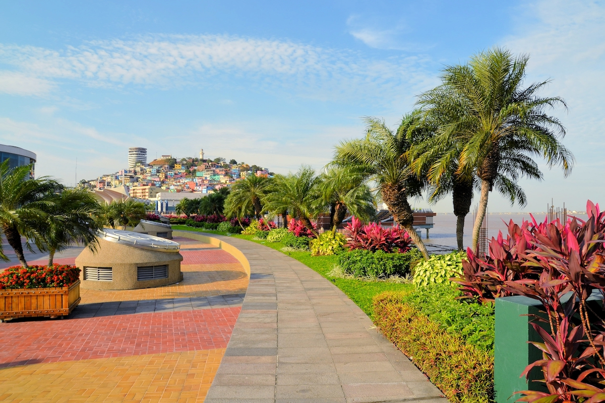 Seaside Malecon 2000 walkway with Santa Ana Hill, Ecuador via Depositphotos