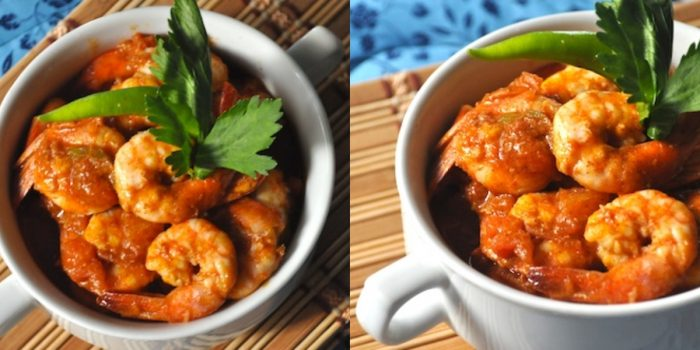 Shrimp with spicy fresh tomato sauce