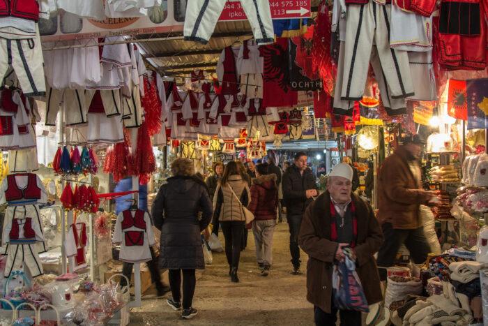 Stalls on the Gjilan Bazar market photo via Depositphotos