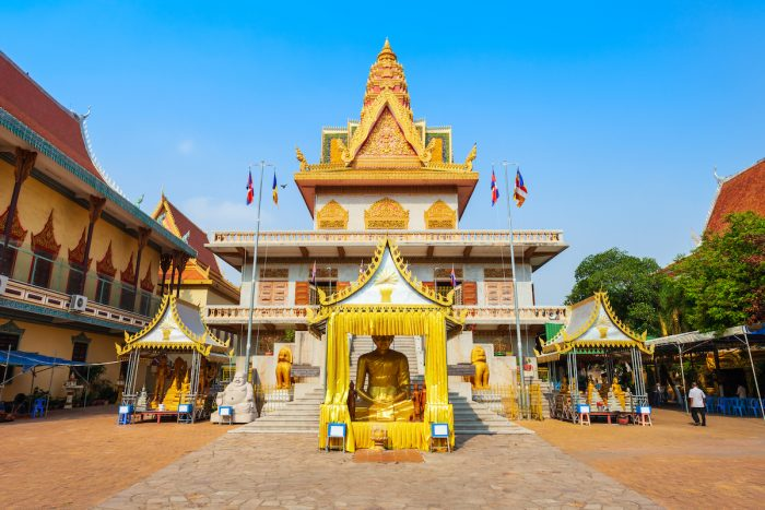 Wat Ounalom is a buddhist temple located on Sisowath Quay near the Royal Palace in Phnom Penh Cambodia via Depositphotos