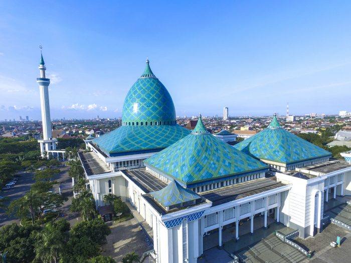 Aerial of Al Akbar mosque islamic center in Surabaya Indonesia photo via Depositphotos