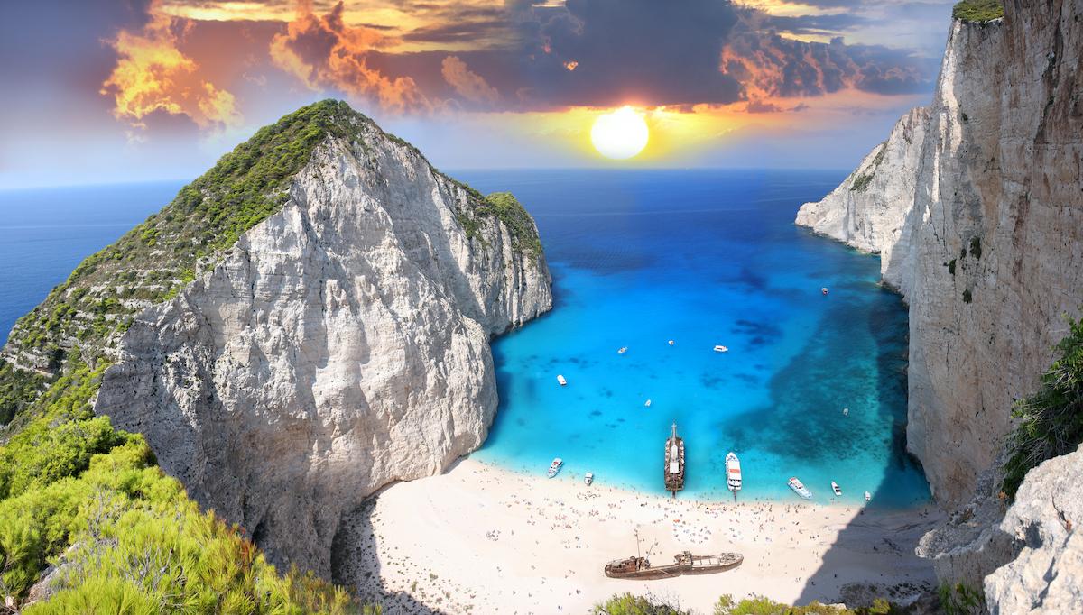 Amazing beach Navagio in Zakynthos, Greece pictures via Depositphotos