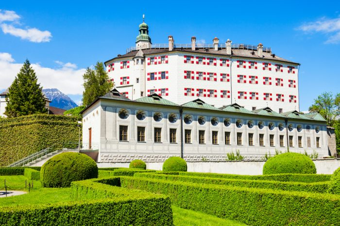 Ambras Castle or Schloss Ambras Innsbruck is a castle and palace located in Innsbruck, the capital city of Tyrol, Austria photo via Depositphotos