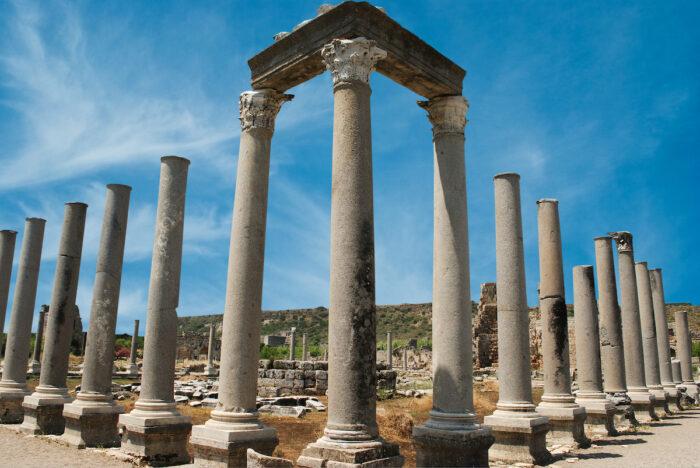 Ancient city of Perge near Antalya Turkey photo via Depositphotos