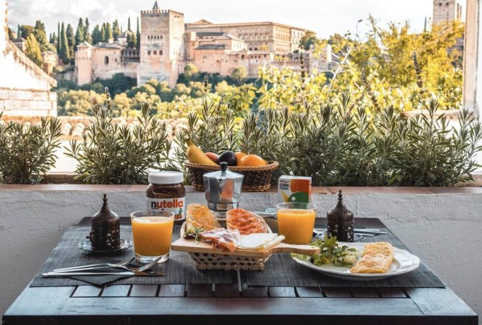 Breakfast with a view in Granada Spain