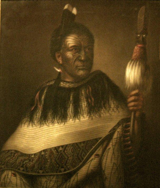 Chief Ngairo Rakaihikuroa in Wairarapa at Dunedin Public Art Gallery by Gottfried Lindauer via Wikipedia CC