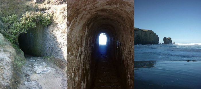 Collage of the tunnel at Tunnel Beach, Dunedin, New Zealand by Ingolfson via Wikipedia CC