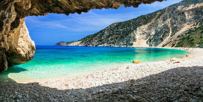 Famous Myrtos beach in Cefalonia island photos via Depositphotos