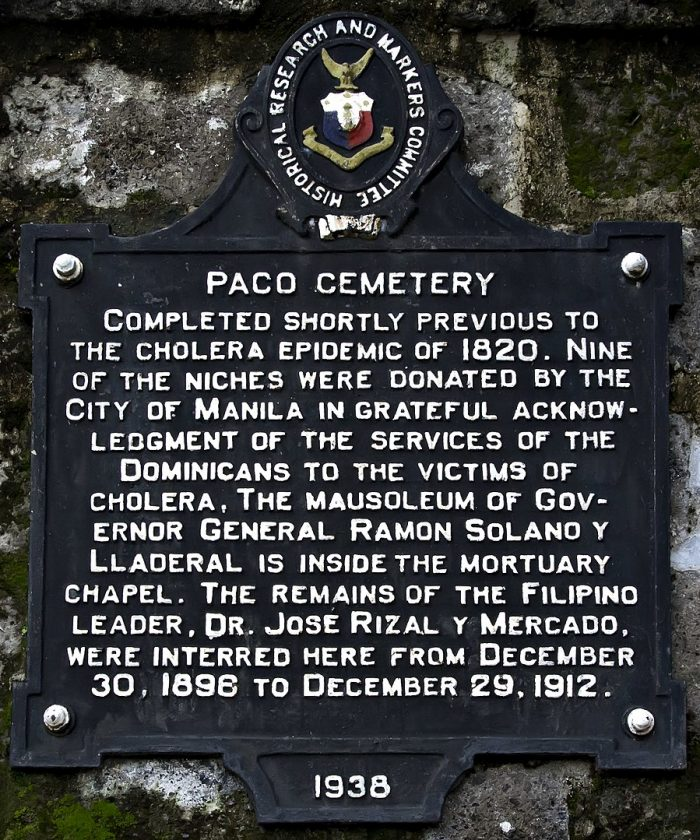 Historical Marker of Paco Cemetery by IJVelas via Wikipedia CC