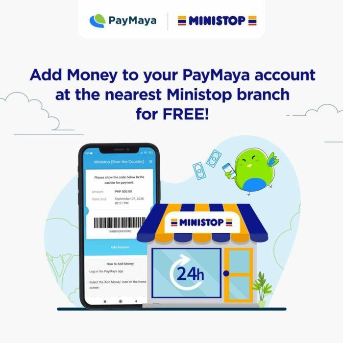 How do I add money to my PayMaya via Ministop?
