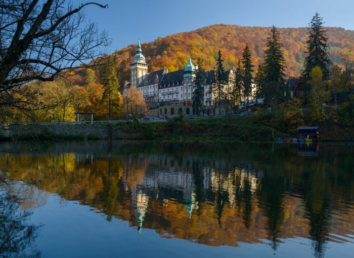 Lillafured Palace in autumn photo via Depositphotos